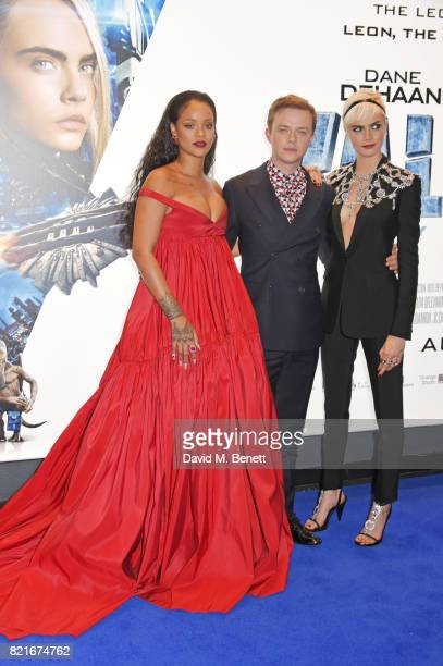 Rihanna Dane DeHaan and Cara Delevingne attend the European Premiere of 'Valerian And The City Of A Thousand Planets' at Cineworld Leicester Square...
