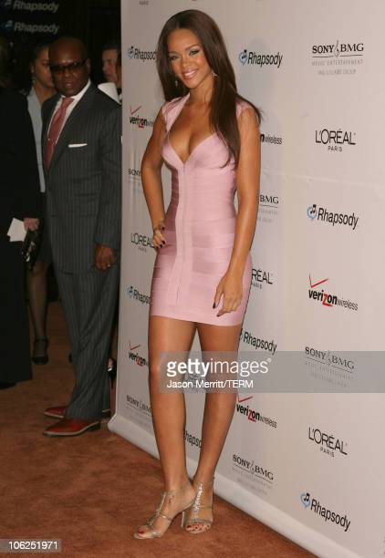 Rihanna during 2007 Clive Davis PreGRAMMY Awards Party Arrivals at Beverly Hilton Hotel in Beverly Hills California United States