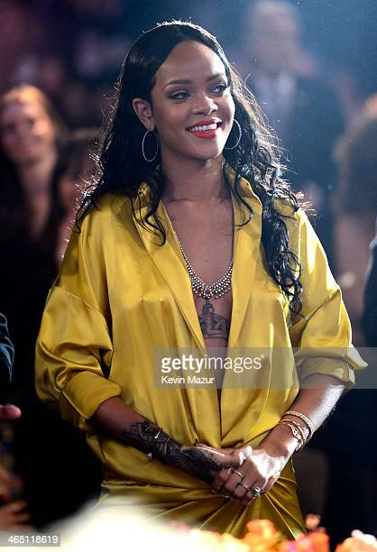 Rihanna during the 56th annual GRAMMY Awards PreGRAMMY Gala and Salute to Industry Icons honoring Lucian Grainge at The Beverly Hilton on January 25...