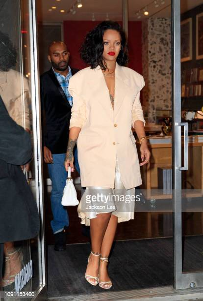 Rihanna goes to dinner at Kappo Masa on January 30, 2019 in New York City.