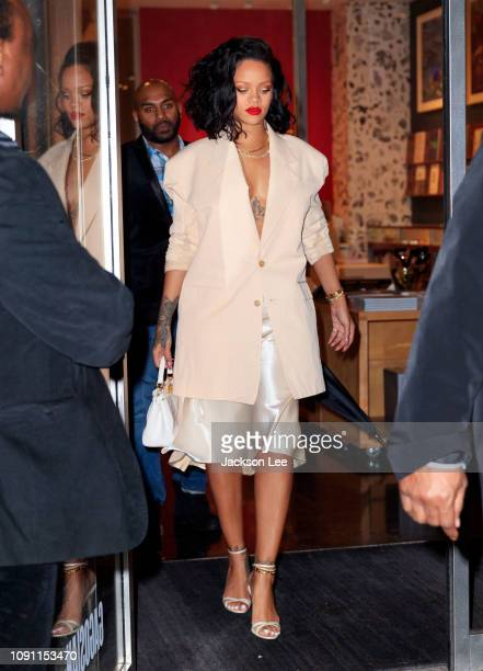 Rihanna goes to dinner at Kappo Masa on January 30 2019 in New York City