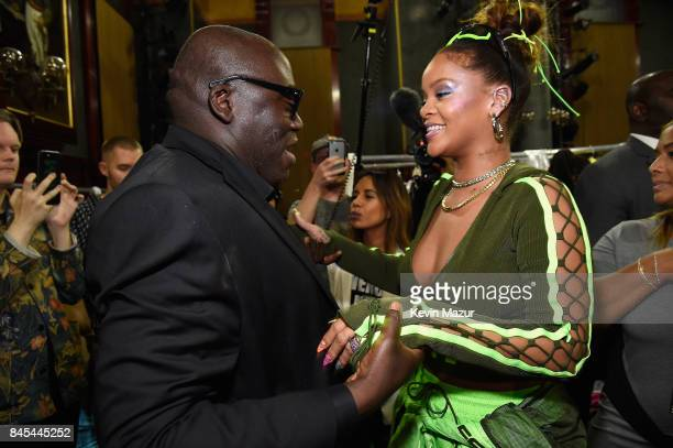 Rihanna greets guests backstage at the FENTY PUMA by Rihanna Spring/Summer 2018 Collection at Park Avenue Armory on September 10, 2017 in New York...