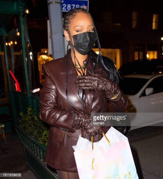 Rihanna hosts her mom Monica Braithwaite birthday party on April 05, 2021 in New York City. (Photo by Gotham/GC Images