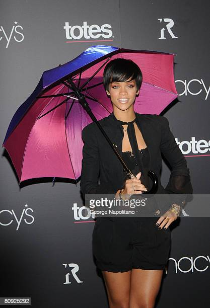 Rihanna introduces a new line Of umbrellas on February 5 2008 at Macy's in New York City