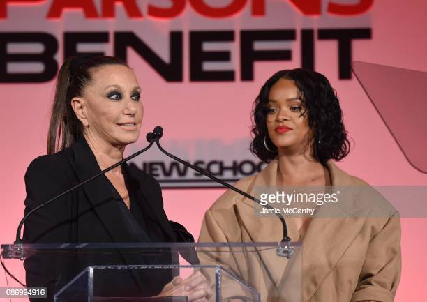 Rihanna introduces Donna Karan on stage during the 69th Annual Parsons Benefit at Pier 60 on May 22 2017 in New York City