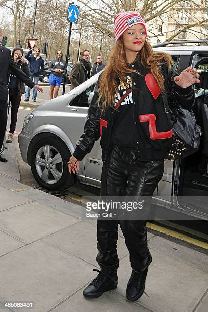 Rihanna is seen arriving at her hotel on February 16 2013 in London United Kingdom
