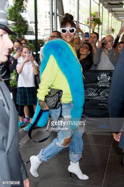 Rihanna is seen arriving at the Carlyle Hotel to prepare for the 'Rei Kawakubo/Comme des Garcons Art Of The InBetween' Costume Institute Gala on May...
