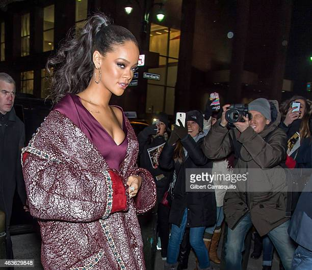Rihanna is seen arriving at Zac Posen fashion show during MercedesBenz Fashion Week Fall 2015 at Vanderbilt Hall at Grand Central Terminal on...