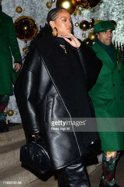 Rihanna is seen at Annabel's club in Mayfair on December 09 2019 in London England