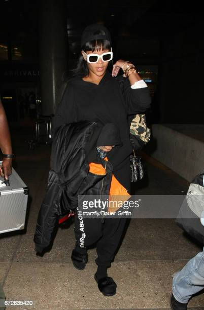 Rihanna is seen at LAX on April 25 2017 in Los Angeles California