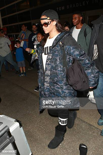 Rihanna is seen at LAX on January 23 2016 in Los Angeles California