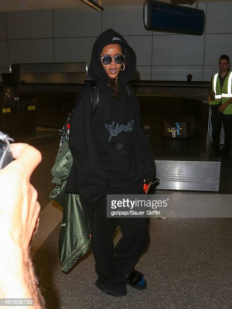 Rihanna is seen at Los Angeles International Airport on October 06 2015 in Los Angeles California