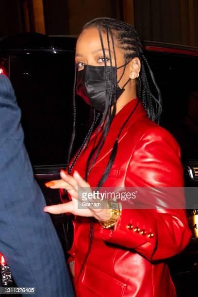 Rihanna is seen at Nobu on April 6, 2021 in New York City.