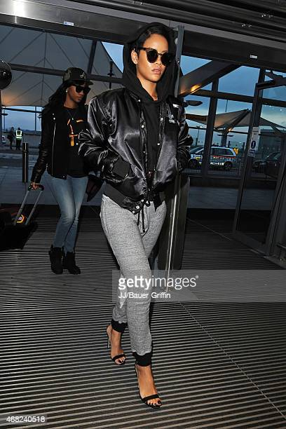 Rihanna is seen at the Heathrow Airport on September 27 2012 in London United Kingdom