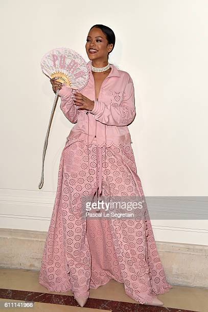 Rihanna is seen backstage during FENTY x PUMA by Rihanna at Hotel Salomon de Rothschild on September 28 2016 in Paris France