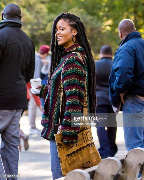Rihanna is seen filming 'Ocean's 8' in Central Park on November 7 2016 in New York City