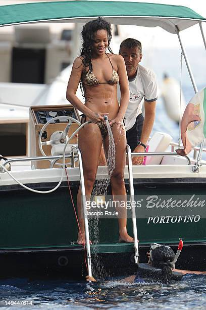 Rihanna is seen in a bikini on a boat on July 28 2012 in Portofino Italy