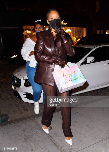 Rihanna is seen in the Meatpacking District on April 05, 2021 in New York City.
