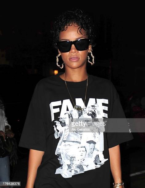 Rihanna is seen in the West Village on August 12, 2013 in New York City.