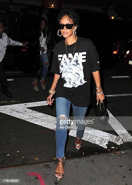 Rihanna is seen in the West Village on August 12 2013 in New York City