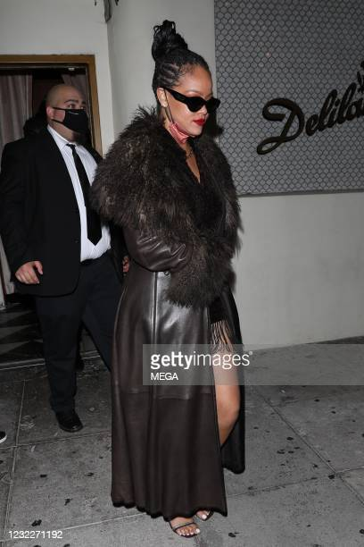 Rihanna is seen leaving Delilah on April 12, 2021 in Los Angeles, California.
