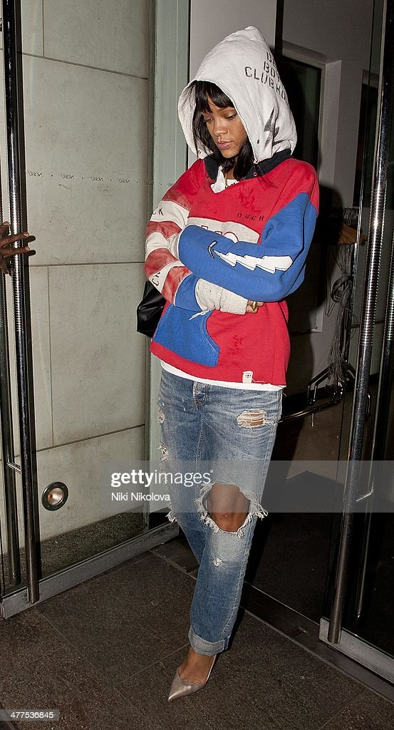 Rihanna is seen leaving Nobu restaurant, Park Lane on March 9, 2014 in London, England.