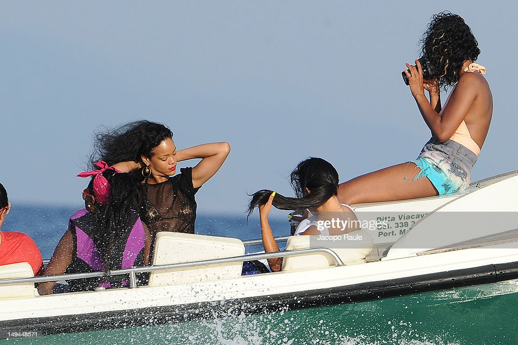 Rihanna is seen on a boat on July 28, 2012 in Portofino, Italy.