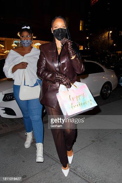 Rihanna is seen on April 05, 2021 in New York City.