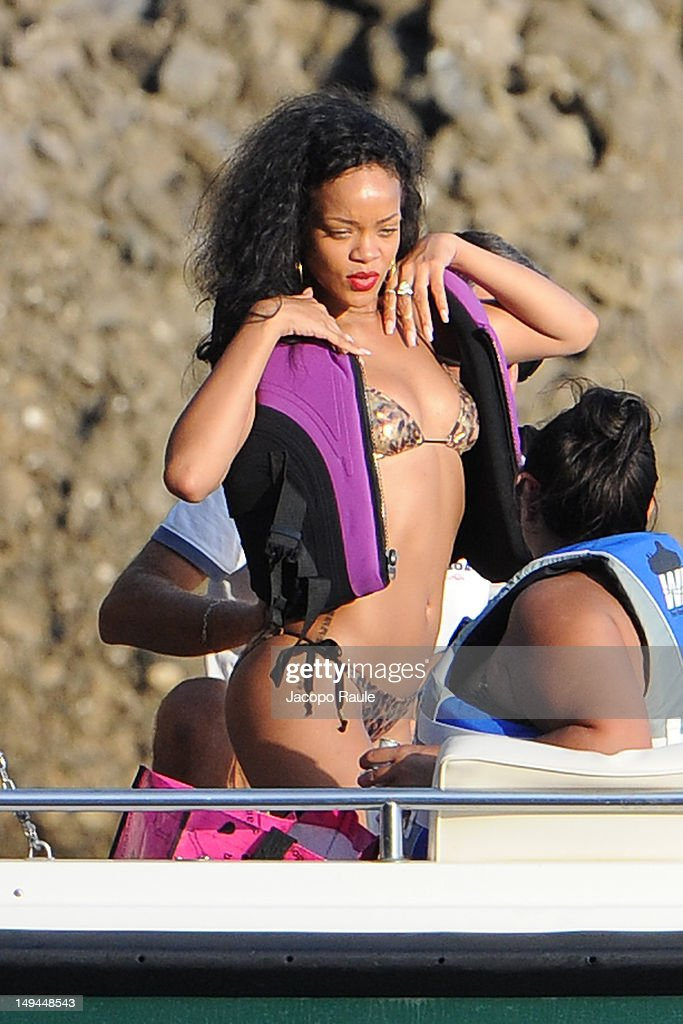 Rihanna is seen on July 28, 2012 in Portofino, Italy.
