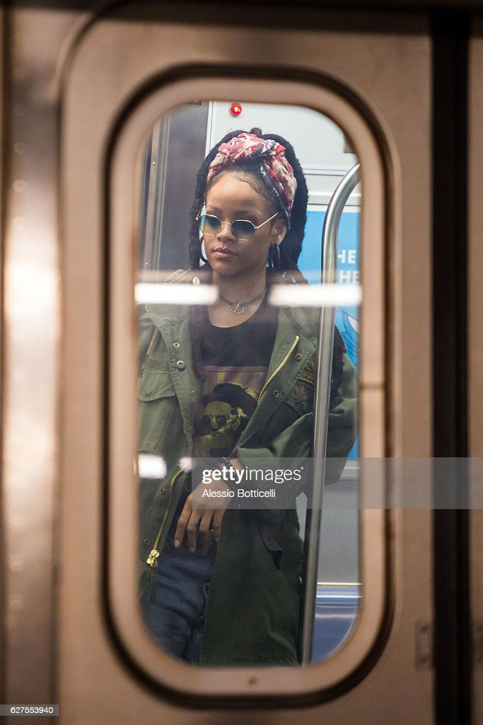 Rihanna is seen on location for 'Ocean's Eight's 8' on December 3, 2016 in New York City.