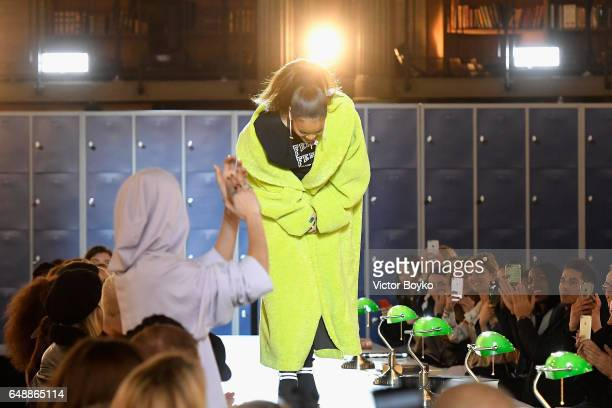 Rihanna is seen on the runway during FENTY PUMA by Rihanna Fall / Winter 2017 Collection at Bibliotheque Nationale de France on March 6 2017 in Paris...