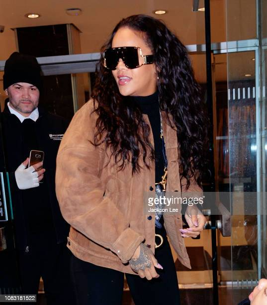 Rihanna is seen outside of an office building on January 16 2019 in New York City