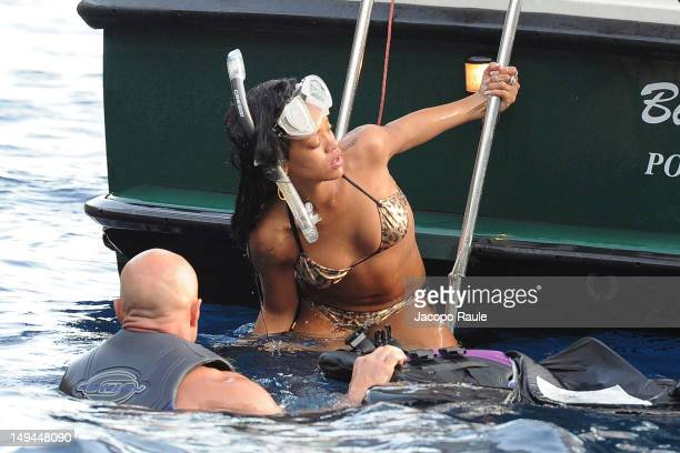 Rihanna is seen snorkeling on July 28 2012 in Portofino Italy