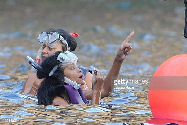 Rihanna is seen snorkeling on July 28 2012 in Portofino Italy