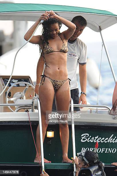 Rihanna is seen wearing a bikini on July 28 2012 in Portofino Italy