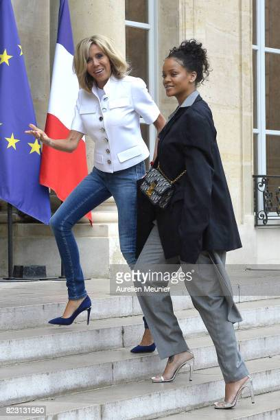 Rihanna is welcomed by the First Lady Brigitte Trogneux as she arrives for a meeting with French President Emmanuel Macron at Elysee Palace on July...