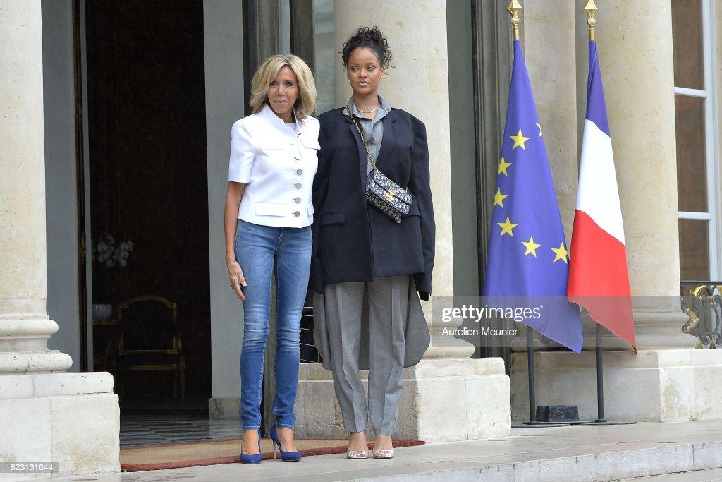 French President Emmanuel Macron Receives Rihanna : News Photo