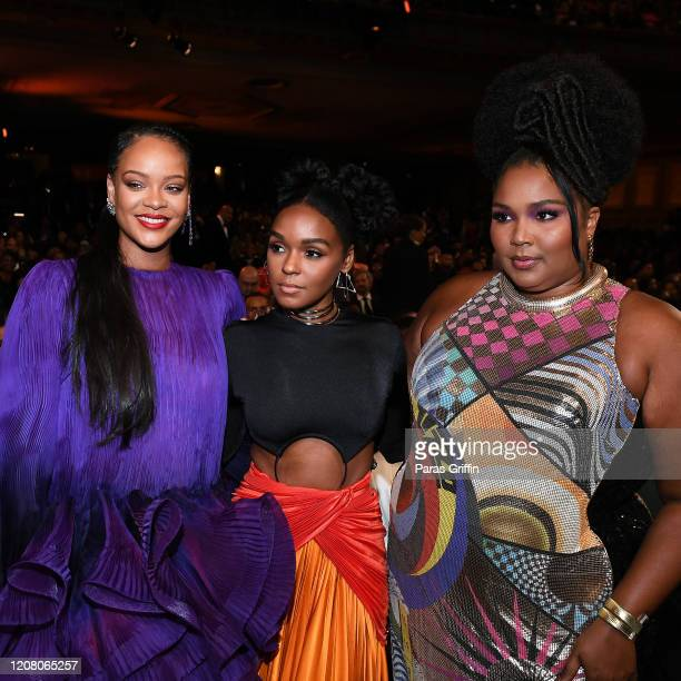 Rihanna Janelle Monáe and Lizzo attend the 51st NAACP Image Awards Presented by BET at Pasadena Civic Auditorium on February 22 2020 in Pasadena...