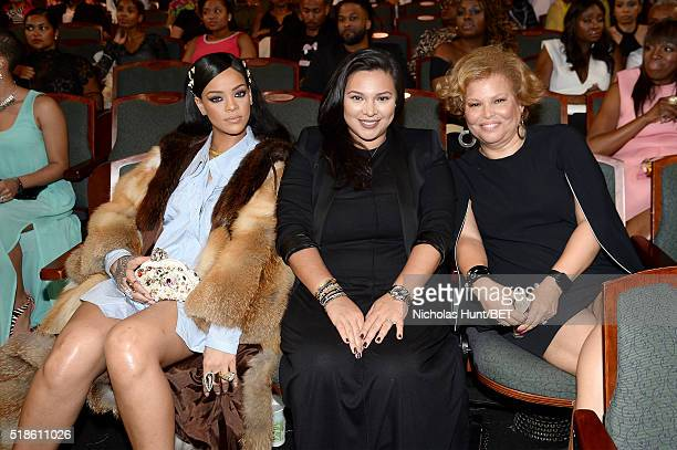 Rihanna Jennifer Rosales and Debra Lee watch from the audience during Black Girls Rock 2016 on April 1 2016 in Newark City
