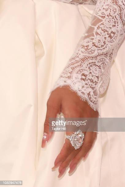 Rihanna jewelry detail attends the 2018 Diamond Ball at Cipriani Wall Street on September 13 2018 in New York City