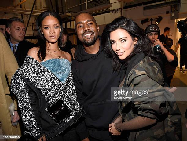 Rihanna Kanye West and Kim Kardashian backstage at the adidas Originals x Kanye West YEEZY SEASON 1 fashion show during New York Fashion Week Fall...