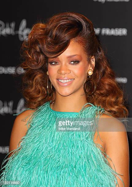 Rihanna launches her debut fragrance Reb'lFleur at House of Fraser on August 19 2011 in London England
