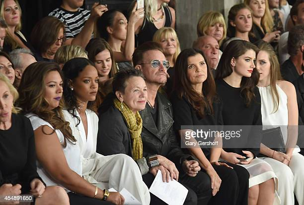Rihanna Laurie Anderson Bono Ali Hewson and Eve Hewson attend Edun during MercedesBenz Fashion Week Spring 2015 at Skylight Modern on September 7...