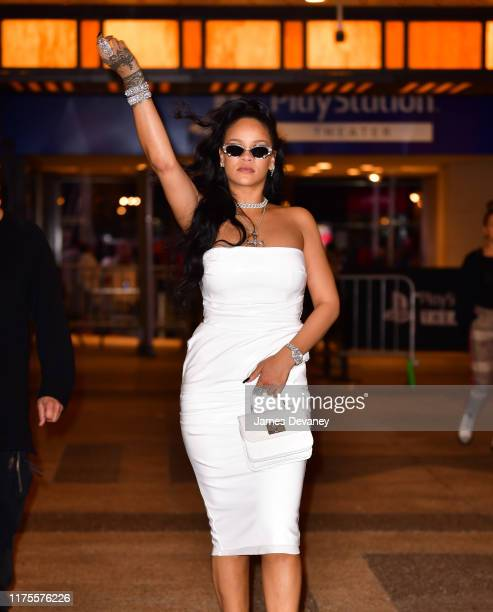 Rihanna leaves the PlayStation Theater in Times Square on October 13, 2019 in New York City.