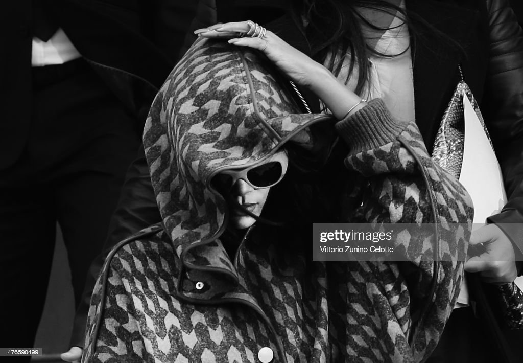 Rihanna leaves the Stella McCartney show as part of the Paris Fashion Week Womenswear Fall/Winter 2014-2015 at the Opera on March 3, 2014 in Paris, France.