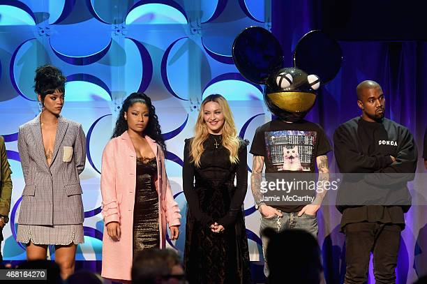 Rihanna Nicki Minaj Madonna Deadmau5 and Kanye West onstage at the Tidal launch event #TIDALforALL at Skylight at Moynihan Station on March 30 2015...