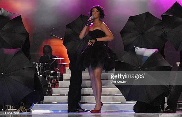 Rihanna on stage during the 2007 World Music Awards held at the Monte Carlo Sporting Club on November 4, 2007 in Monte Carlo, Monaco.