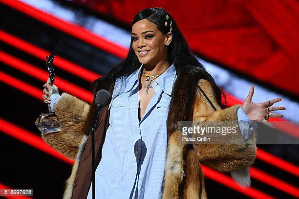 Rihanna onstage at Black Girls Rock 2016 at New Jersey Performing Arts Center on April 1 2016 in Newark New Jersey