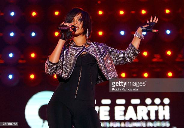 Rihanna peforms on stage at the Tokyo leg of the Live Earth series of concerts, at Makuhari Messe, Chiba on July 7, 2007 in Tokyo, Japan. Launched by...