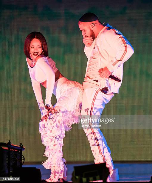Rihanna perform with Drake at the BRIT Awards 2016 at The O2 Arena on February 24 2016 in London England